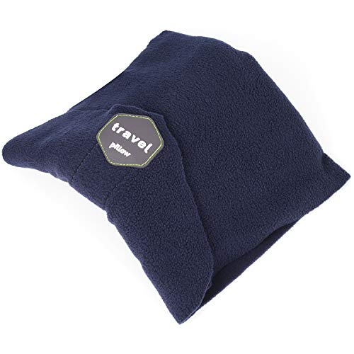 SAKEYR Neck Support Travel Pillow for Airplanes, Soft Comfortable Travel Neck Pillow Scarf for Unisex Men Women Kids Airplane Sleep Pillow with Adjustable Strap- Machine Washable (Dark Blue)
